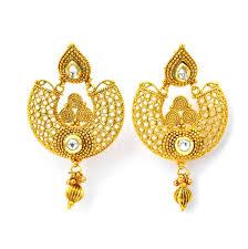 golden earrings golden earring set in indian costom jewellery indianjewelr