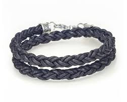 rope bracelet images Braided leather rope bracelet double wrap black lucky dog jpg