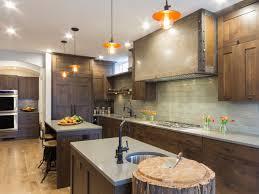 craftsman kitchen with tree stump butcher block two islands