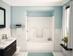 bathroom design and decoration using light blue flower pattern