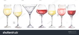 watercolor wine glasses set beautiful glasses stock illustration