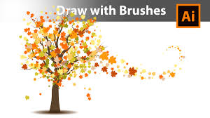 how to draw an autumn tree with brushes in adobe illustrator youtube