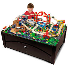 kidkraft metropolis train set table with trundle drawer 17935