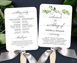 fan program garden greenery wedding fan program printable wedding fan program