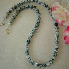 gemstone beads necklace images Light green tree agate gemstone beaded necklace enticing style jpg