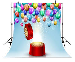 Custom Backdrops Round Gift Box Balloons Photography Backgrounds Vinyl Cloth High
