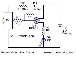 remote control tester circuit using infra red sensor ic tsop 1738
