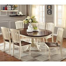 cottage dining room sets furniture of america bethannie 7 cottage style oval dining