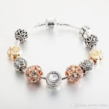 white gold plated charm bracelet images 18k rose gold plated heart charms european beads bracelet for jpg