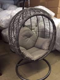 large luxurious grey rattan wicker garden hanging pod chair swing