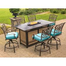 Patio Furniture With Fire Pit Set - traditions 7 piece high dining bar set in blue with 30 000 btu