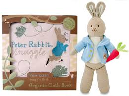 peter rabbit organic cotton snuggle cloth book plush inhabitots