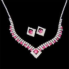pink jewelry necklace images Silver plated fancy pink crystal rhinestones party necklace jpg