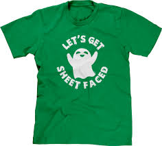 funny halloween t shirts lets get sheet faced halloween ghost pun funny drunk joke beer