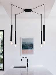 deco en zinc 1 light long pendant in black