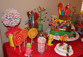 candy themed ideas for baby shower party candy table side view