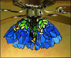 Stained Glass Ceiling Fan Light Shades Stained Glass Ceiling Fans Iris Blue Green Stained Glass