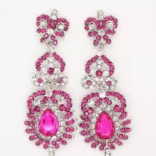 silver dangle earrings for prom shop pink prom earrings on wanelo