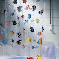 Transparent Shower Curtain Extra Long Shower Curtain Tropical Fish Shower Curtains
