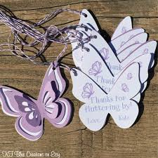 butterfly thank you tags favor tags gift tags shades of purple