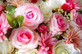 flowers decoration at home close up of artificial flowers bouquet arrange for decoration in