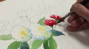 flowers and fruit painting watercolor still with flowers and fruit