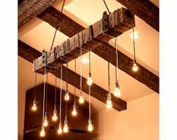 wood beam light fixture 5 foot reclaimed wood beam chandelier
