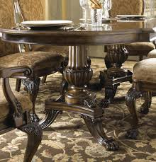 seven piece dining set pedestal table hand carved by fine