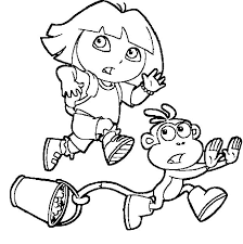 dora boots running coloring pages dora running