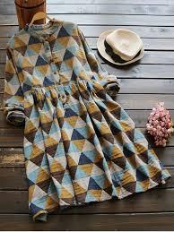 geometric print long sleeves checked shirt dress colormix long