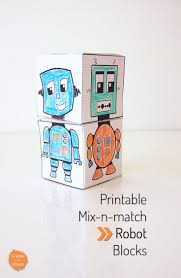 printable mix n match robot blocks create in the chaos