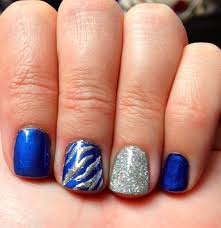 blue and silver nails could be dallas cowboys nails nails