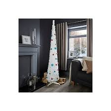 6ft pop up white pre lit pre decorated tree