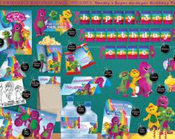 Diy Barney Decorations Barney Birthday Etsy