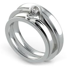 wedding ring sets his and hers white gold matching bezel heart concave diamond wedding ring set in white gold