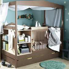 nursery bedroom design ideas on the wall beside round mirror above