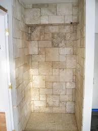 gray ceramic bathroom wall tile shower head bath seat clear glass