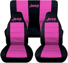 jeep wrangler pink jeep wrangler yj tj jk 1987 2017 2 tone seat covers w logo front