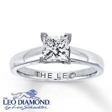 leo diamond ring leo diamond solitaire 1 carat princess cut 14k white gold ring