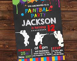 paintball invite etsy