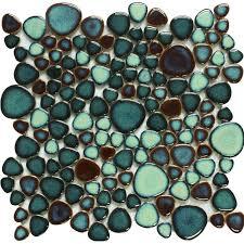 Green Porcelain Tile Pebbles Bath Wall Backsplash Tiles Glazed Ceramic - Pebble backsplash