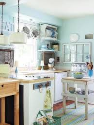 amazing small kitchen with wooden countertop blue stripe rug