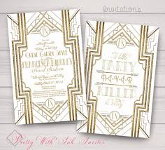 Gatsby Invitations Sweet Sixteen Wedding Invitations Gatsby Roaring 20s Gold U0026 Art