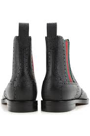 gucci womens boots uk gucci leather chelsea boots in black green 51nu s shoes