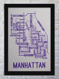 Manhattan Street Map Manhattan Kansas Street Map Print Street Posters