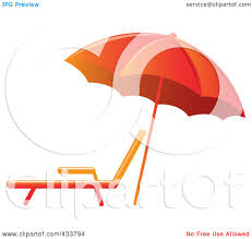 Lounge Chair Umbrella Royalty Free Rf Clipart Illustration Of An Orange Beach Umbrella