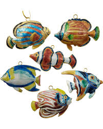 here s a great deal on cloisonne tropical fish ornaments set of 6