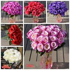 1 large bouquet 24 heads fake rose artificial flower wedding party
