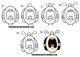 draw cartoon crying person word cry easy step