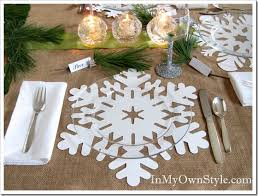 Table Place Mats Holiday Table Setting Snowflake Place Mats Place Cards And